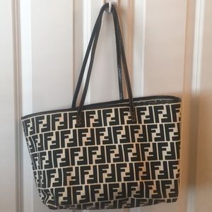 3bafee86f1 Fendi Black and White Zucca Tote Bag